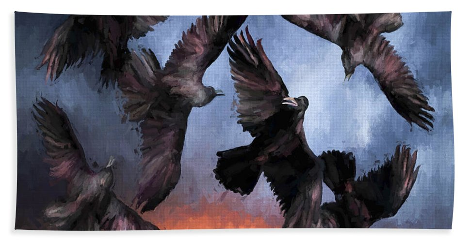 Fine Art Bath Towel featuring the painting Airborne Unkindness by David Wagner
