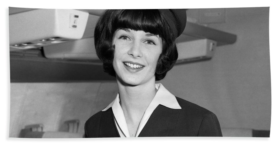 1960s Bath Sheet featuring the photograph Airline Stewardess by H. Armstrong Roberts/ClassicStock