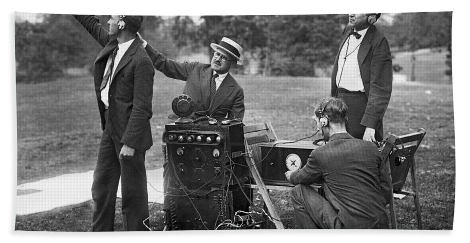 1920s Hand Towel featuring the photograph Airplane Radio Broadcast Test by Underwood Archives