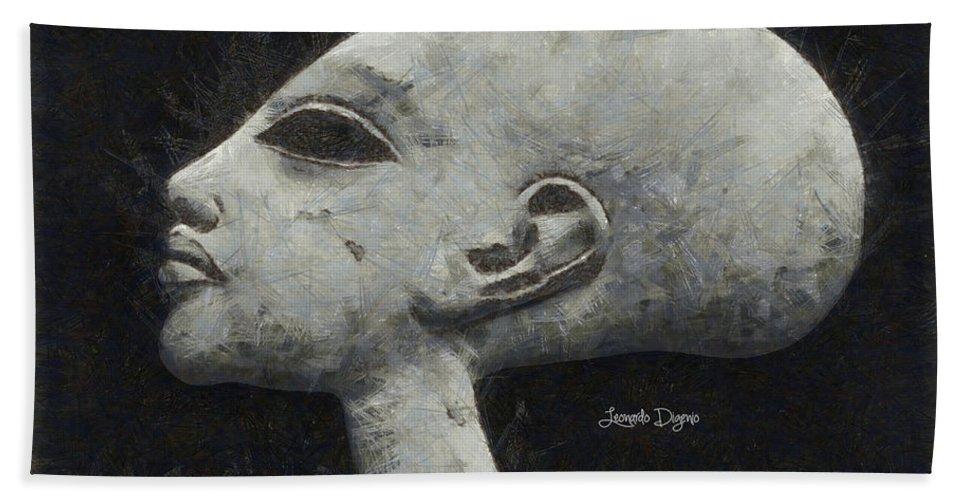 Ancient Hand Towel featuring the painting Akhenaten Was Among Us by Leonardo Digenio