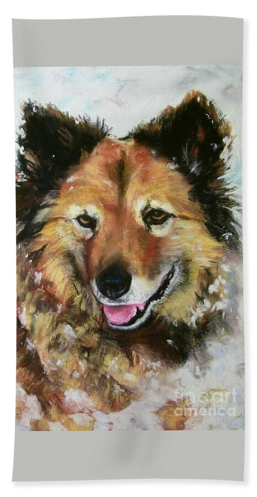 Dog Hand Towel featuring the painting Akia by Frances Marino