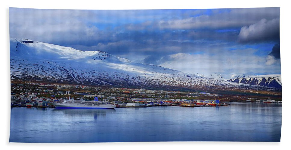 Akureyri Bath Sheet featuring the photograph Akureyri Port by Ceri Jones