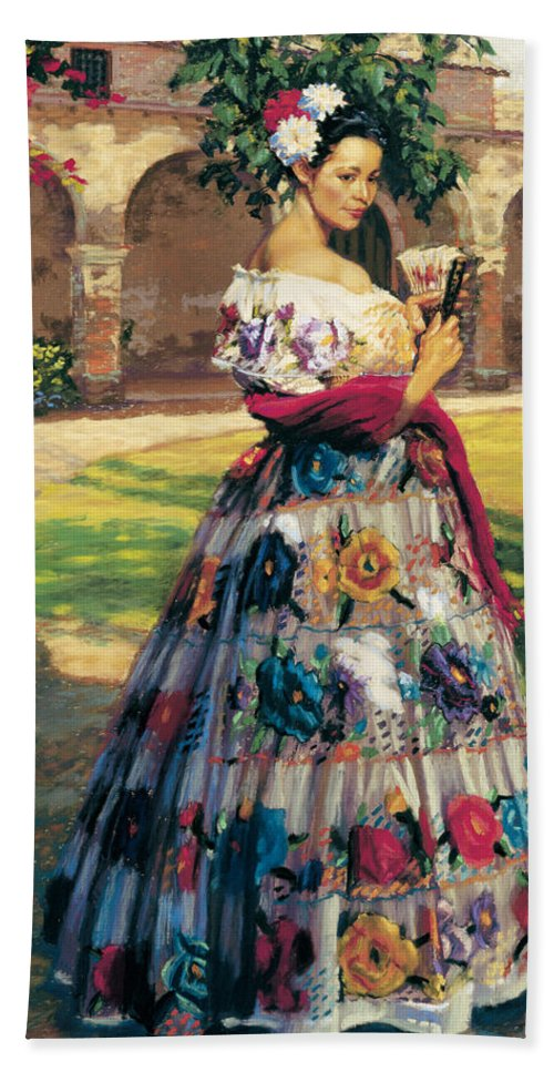 Woman Elaborately Embroidered Mexican Dress. Background Mission San Juan Capistrano. Bath Towel featuring the painting Al Aire Libre by Jean Hildebrant