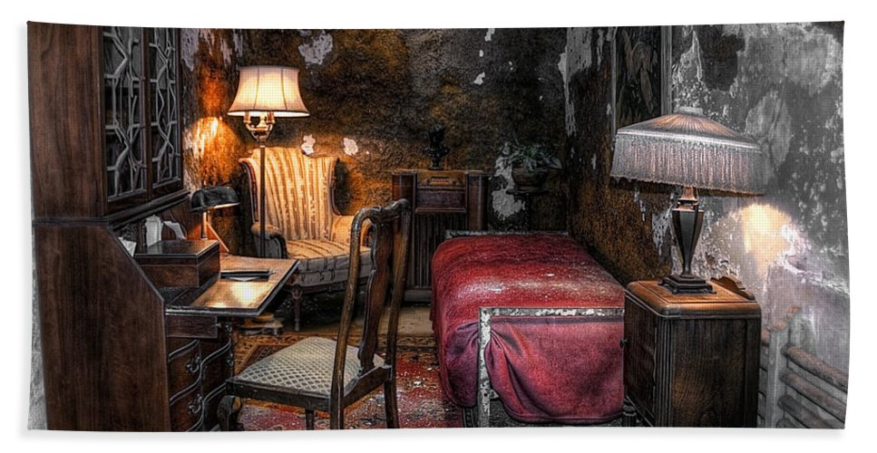 America Bath Sheet featuring the photograph Al Capone Cell by Svetlana Sewell
