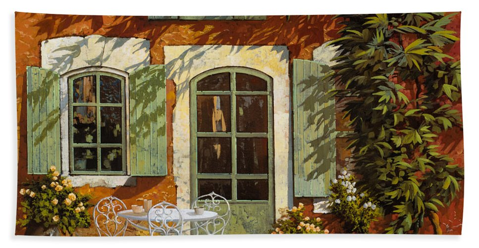 Landscape Bath Sheet featuring the painting Al Fresco In Cortile by Guido Borelli