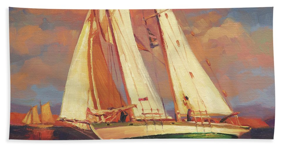 Sailboat Bath Towel featuring the painting Al Fresco by Steve Henderson