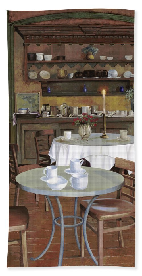 Cafe Hand Towel featuring the painting Al Lume Di Candela by Guido Borelli