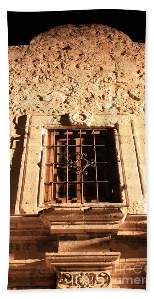 Alamo Bath Sheet featuring the photograph Alamo Night Window by Carol Groenen