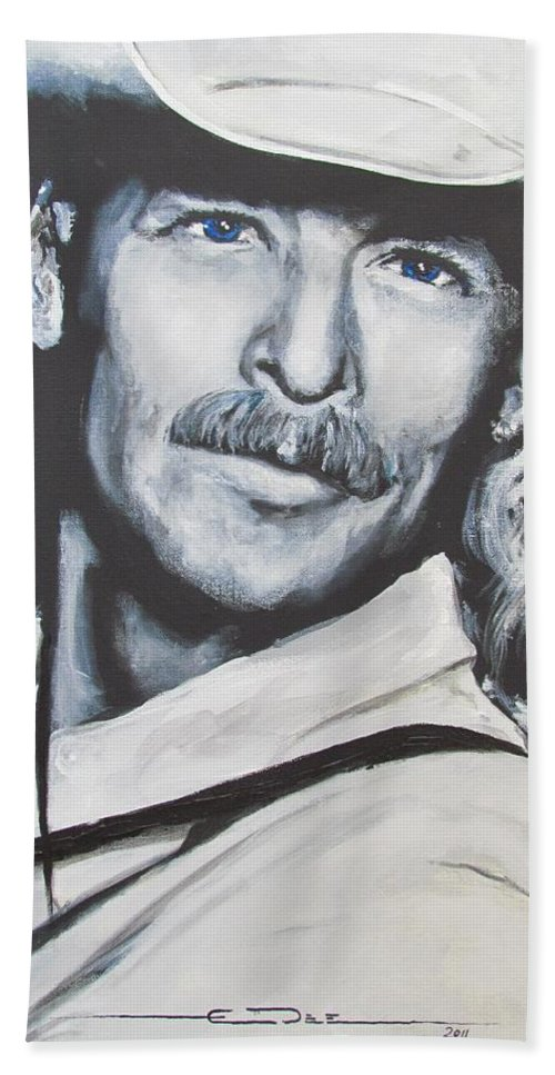 Alan Jackson Bath Towel featuring the painting Alan Jackson - In the Real World by Eric Dee