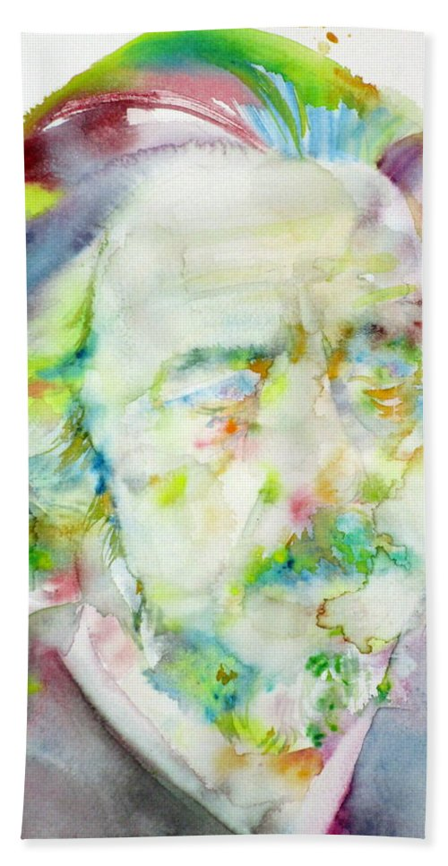 Alan Watts Hand Towel featuring the painting Alan Watts - Watercolor Portrait.3 by Fabrizio Cassetta