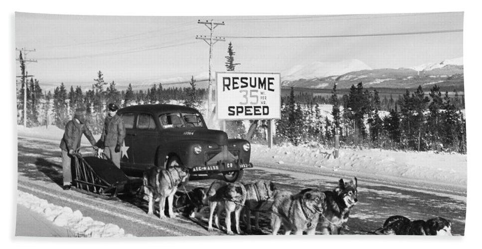 1950 Bath Sheet featuring the photograph Alaska: Dog Sled, C1950 by Granger