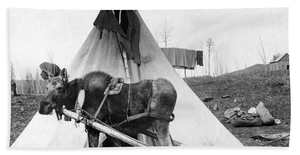 1916 Bath Sheet featuring the photograph Alaska: Tepee, C1916 by Granger