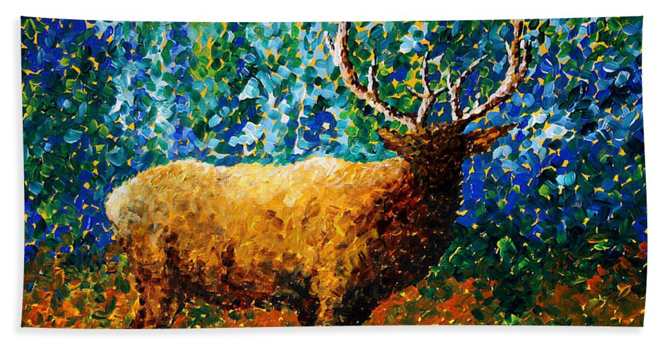 Abstract Bath Sheet featuring the painting Alaskan Elk Original Madart Painting by Megan Duncanson