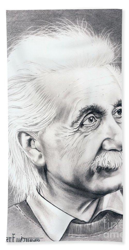 Portrait Hand Towel featuring the drawing Albert Einstein by Murphy Elliott