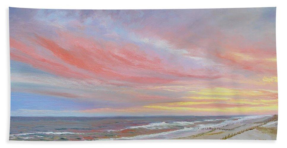 Seascape Bath Towel featuring the painting Alberta's Sunset by Lea Novak