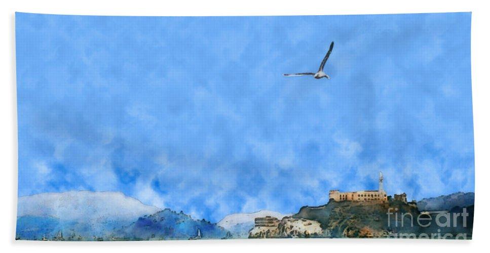 Alcatraz Bath Sheet featuring the painting Alcatraz by Methune Hively