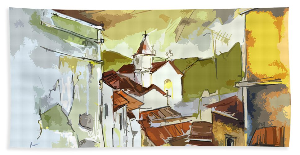 Portugal Paintings Hand Towel featuring the painting Alcoutim Portugal 06 bis by Miki De Goodaboom