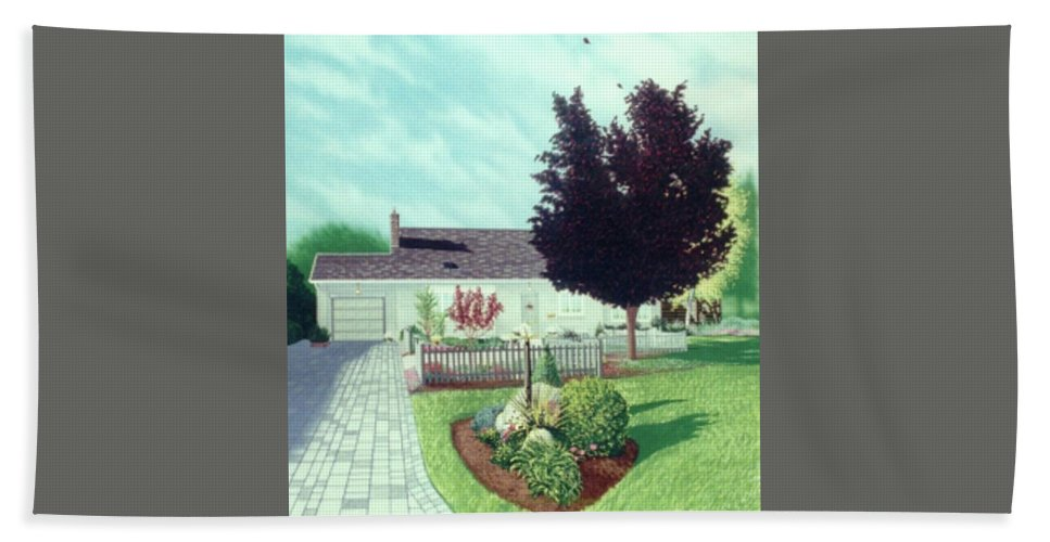 Home Bath Sheet featuring the painting Aldershot Home by Markus Neal Humby
