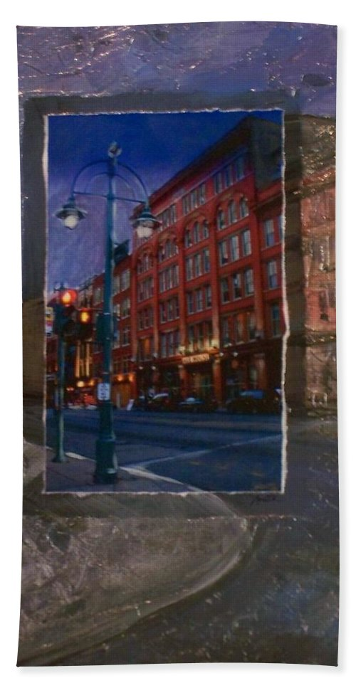 Ale House Hand Towel featuring the mixed media Ale House And Street Lamp by Anita Burgermeister