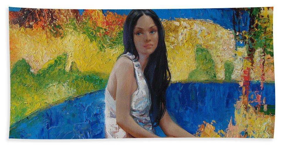 Ignatenko Bath Sheet featuring the painting Alesya by Sergey Ignatenko