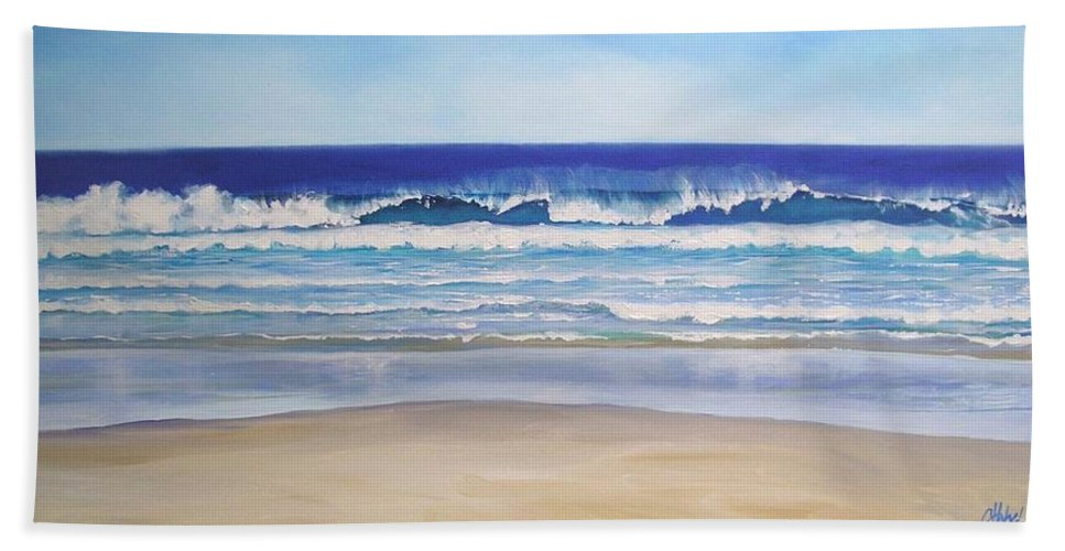 Seascape Hand Towel featuring the painting Alexandra Bay Noosa Heads Queensland Australia by Chris Hobel