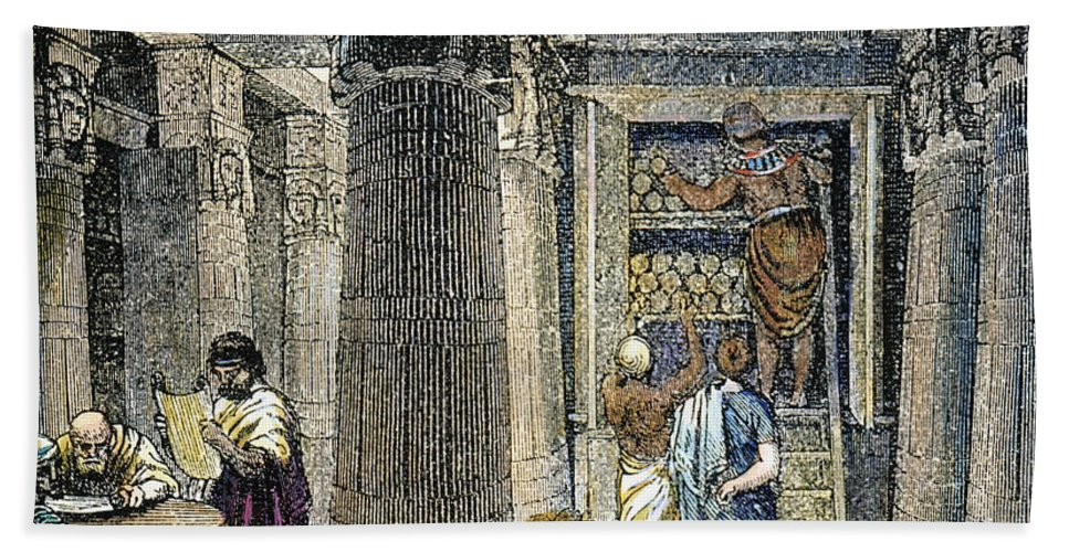3rd Century B.c Bath Sheet featuring the photograph Alexandria: Library by Granger