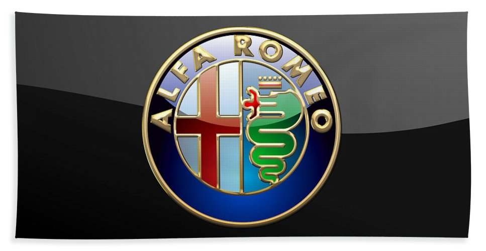 Wheels Of Fortune� Collection By Serge Averbukh Bath Towel featuring the photograph Alfa Romeo - 3 D Badge on Black by Serge Averbukh