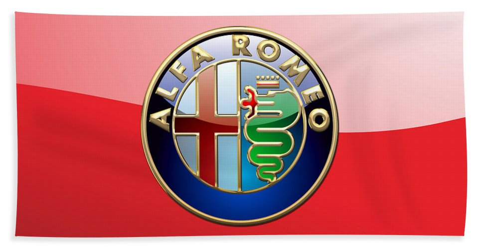 Wheels Of Fortune By Serge Averbukh Bath Towel featuring the photograph Alfa Romeo - 3d Badge On Red by Serge Averbukh