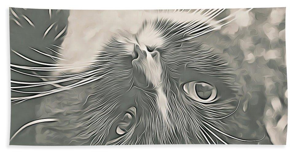Cat Bath Sheet featuring the digital art Alfie by Debbie Deboo