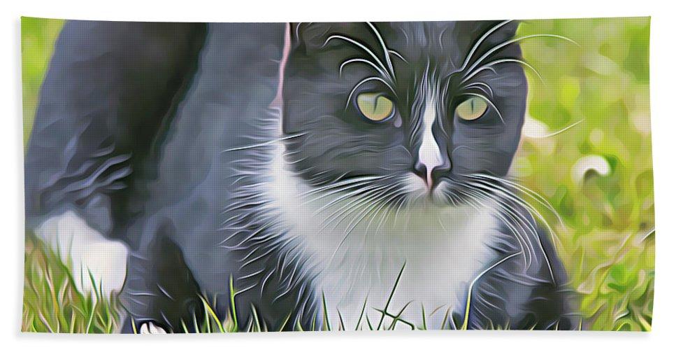 Cat Bath Sheet featuring the digital art Alfie On The Alert by Debbie Deboo