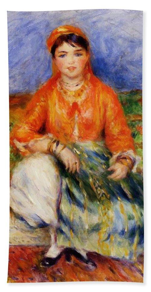 Algerian Hand Towel featuring the painting Algerian Girl 1881 by Renoir PierreAuguste