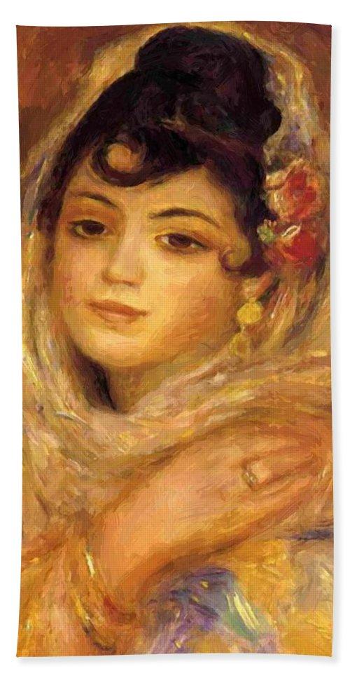 Algerian Hand Towel featuring the painting Algerian Woman 1881 by Renoir PierreAuguste