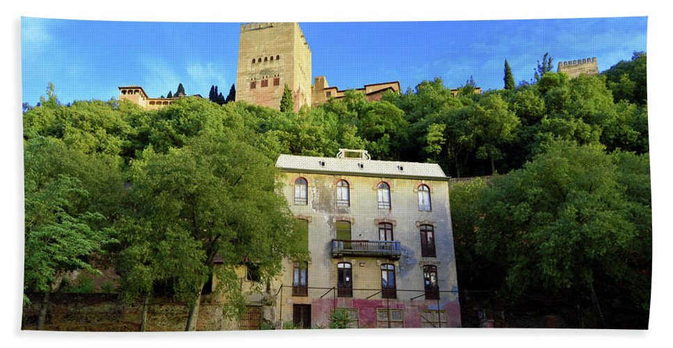 Alhambra Bath Sheet featuring the photograph Alhambra Environs by Sadaf Rahman