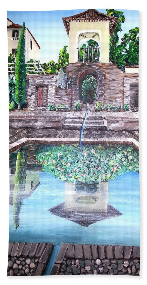 Spain Bath Sheet featuring the painting Alhambra Spain Reflections by Irving Starr