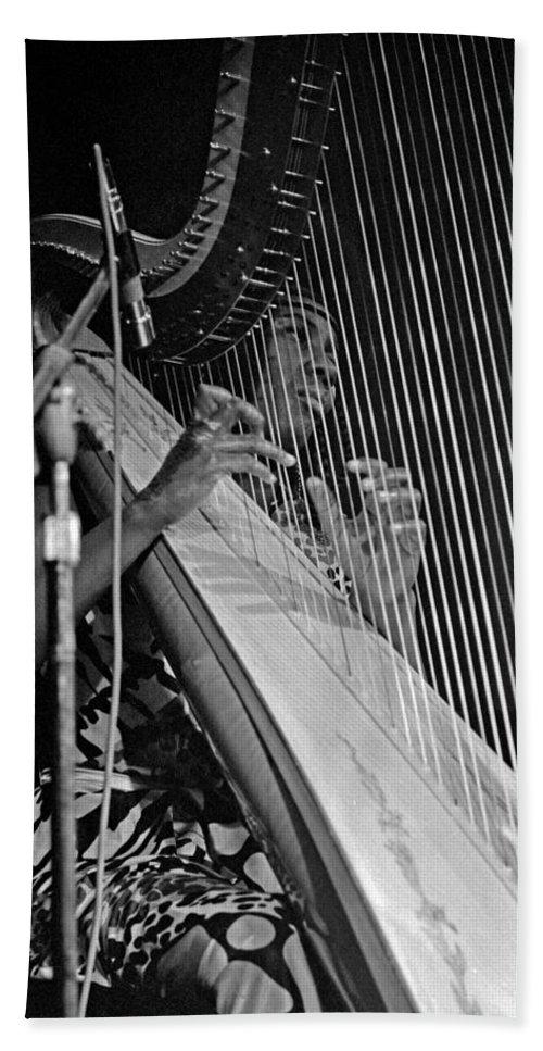 Coltrane Bath Sheet featuring the photograph Alice Coltrane On Harp by Lee Santa