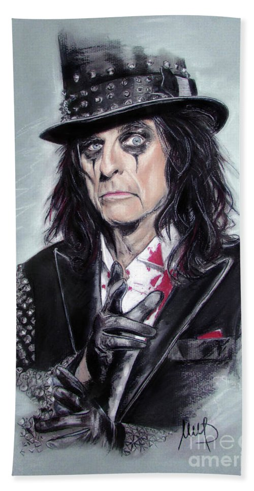 Alice Cooper Bath Towel featuring the pastel Alice Cooper by Melanie D