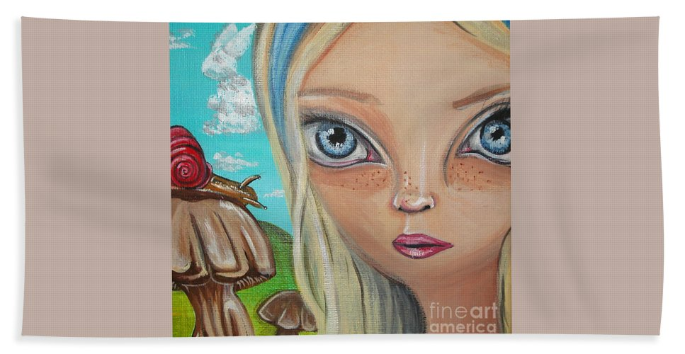 Alice In Wonderland Bath Sheet featuring the painting Alice Finds A Snail by Jaz Higgins