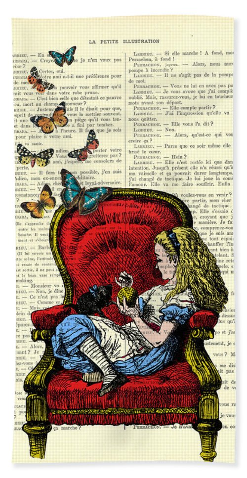 Alice Bath Towel featuring the digital art Alice In Wonderland Playing With Cute Cat And Butterflies by Madame Memento