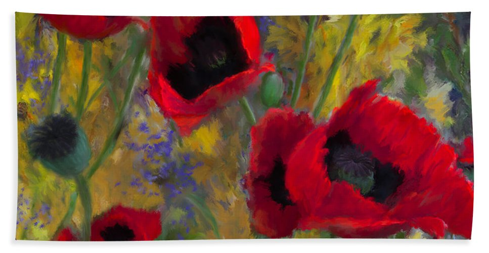 Flowers Bath Sheet featuring the painting Alicias Poppies by Colleen Taylor