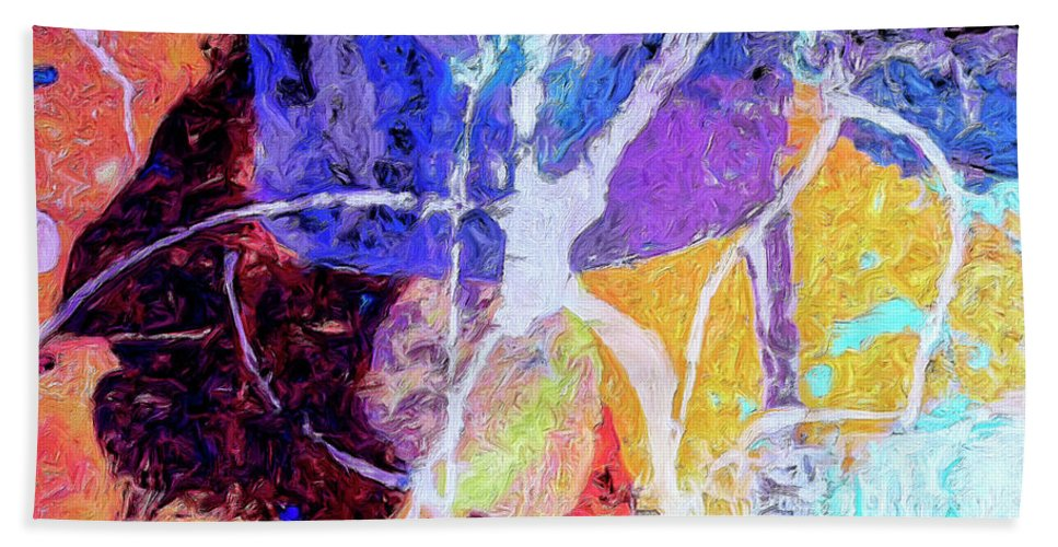 Abstract Hand Towel featuring the painting Alien Disco by Dominic Piperata