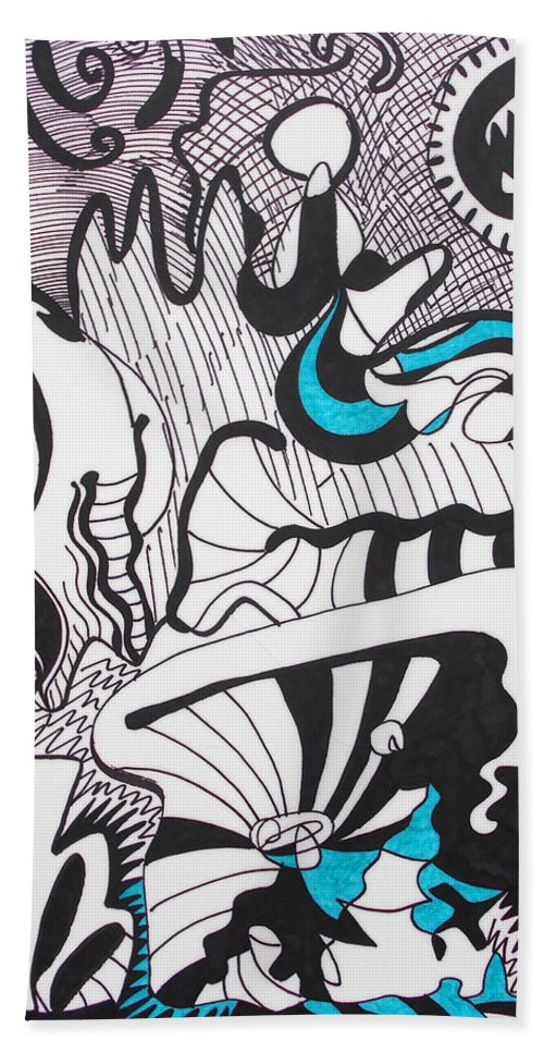 Abstract Expressionist Black And White Linear Surreal Surrealist Landscape Marker Drawing Drawings Hand Towel featuring the drawing Alien Landscape by Laura Joan Levine
