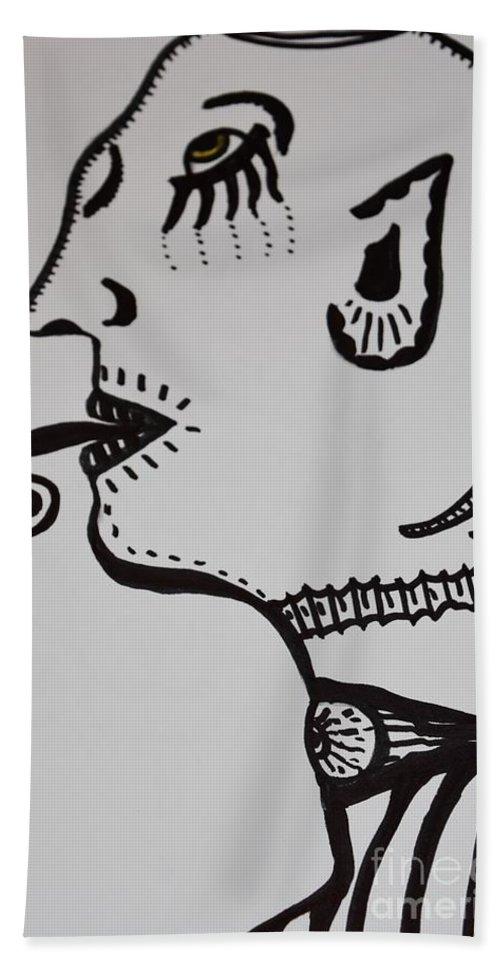 Alien Hand Towel featuring the drawing Alien Lick by Lisa Kleiner
