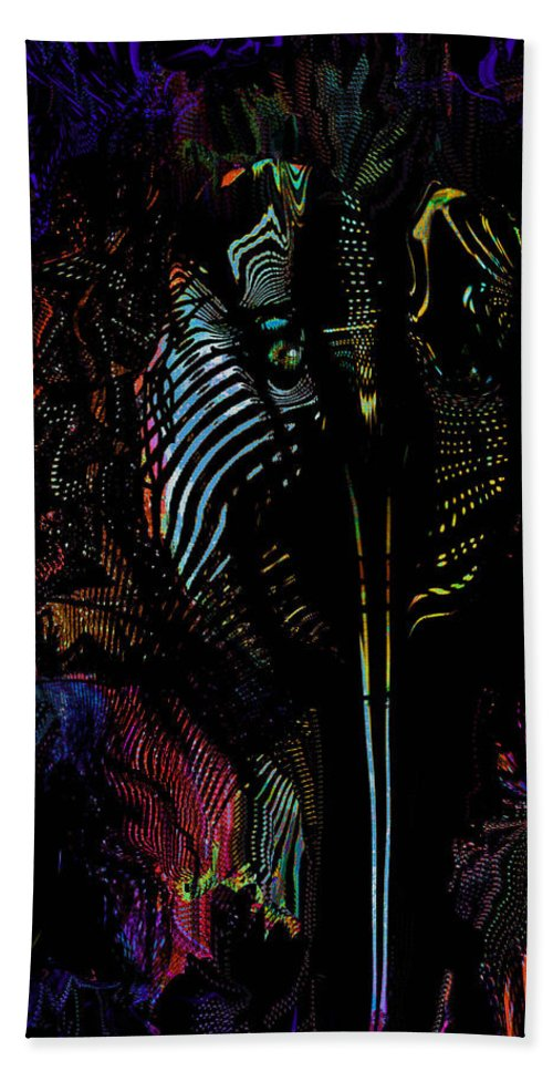Alien Hand Towel featuring the painting Alien Portrait by Natalie Holland