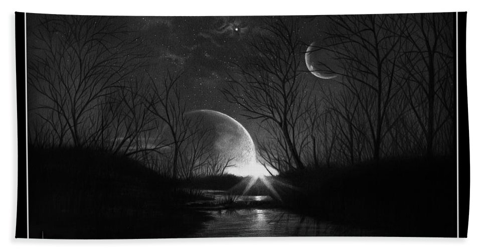 Pencil Bath Towel featuring the drawing Alien Skies by Murphy Elliott