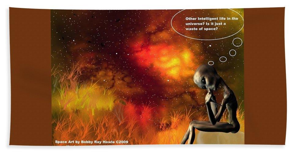 Comic Space Art Cartoon Artrage Artrageus Bath Towel featuring the digital art Alien Thinker by Robert aka Bobby Ray Howle