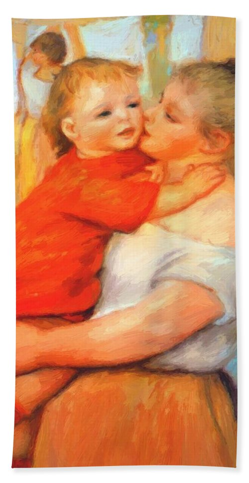 Aline Hand Towel featuring the painting Aline And Pierre 1887 by Renoir PierreAuguste