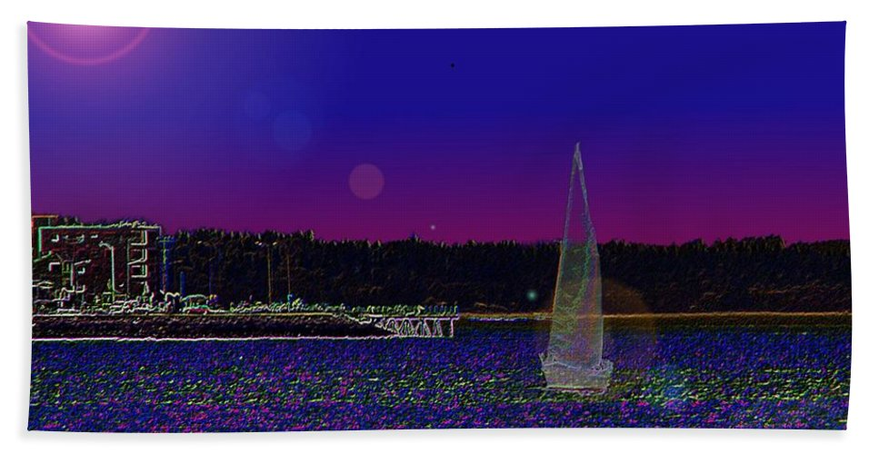 Seattle Hand Towel featuring the digital art Alki Ghost Sail by Tim Allen