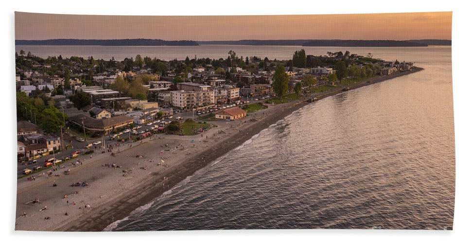 Seattle Hand Towel featuring the photograph Alki Point Aerial Sunset by Mike Reid