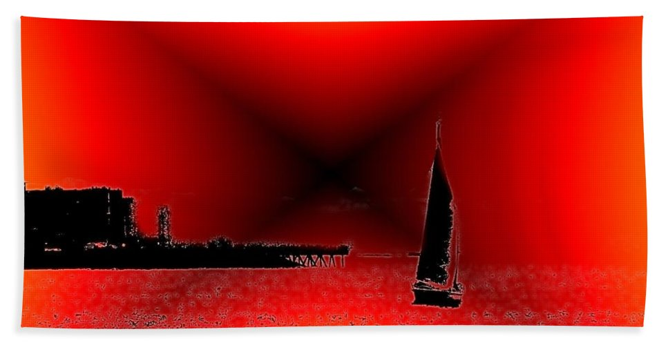Sail Bath Towel featuring the photograph Alki Sail 2 by Tim Allen