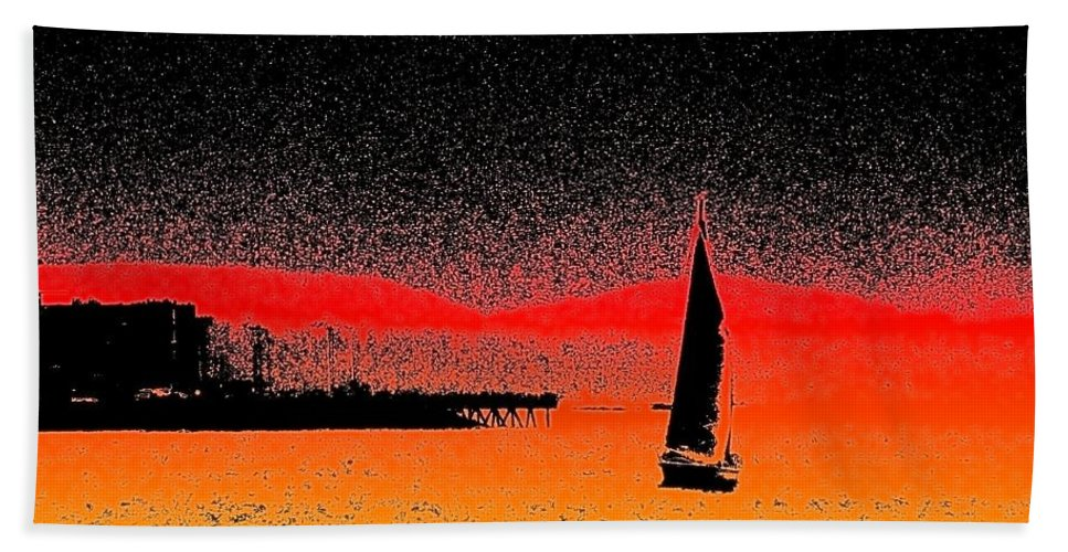 Seattle Hand Towel featuring the photograph Alki Sail by Tim Allen
